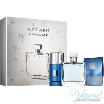 Azzaro Chrome Комплект (EDT 50ml + AS Balm 75ml + Deo Stick 75ml) за Мъже Мъжки Комплекти