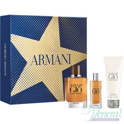 Armani Acqua Di Gio Absolu Комплект (EDP 75ml +EDP 15ml + SG 75ml) за Мъже Мъжки Комплекти