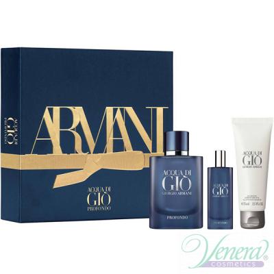 Armani Acqua Di Gio Profondo Комплект (EDP 75ml + EDP 15ml + SG 75ml) за Мъже Мъжки Комплекти