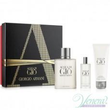 Armani Acqua Di Gio Комплект (EDT 100ml + EDT 15ml + SG 75ml) за Мъже