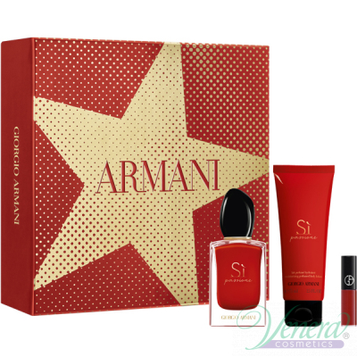 Armani Si Passione Комплект (EDP 50ml + BL 75ml + Lip Maestro 400 1.5ml) за Жени Дамски Комплекти