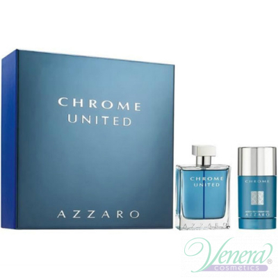 Azzaro Chrome United Комплект (EDT 50ml + Deo Stick 75ml) за Мъже Мъжки Комплекти