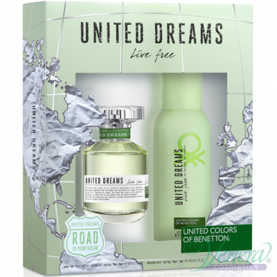 Benetton United Dreams Live Free Комплект (EDT 80ml + Deo Spray 150ml) за Жени