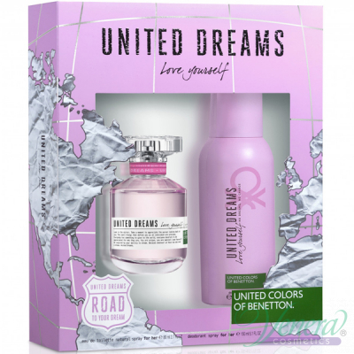 Benetton United Dreams Love Yourself Комплект (EDT 80ml + Deo Spray 150ml) за Жени