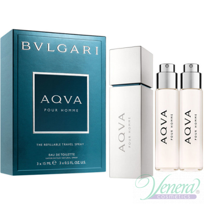 Bvlgari Aqva Pour Homme Refillable Travel EDT 3x15ml за Мъже Мъжки Парфюми