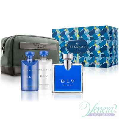 Bvlgari BLV Pour Homme Комплект (EDT 100ml + AS Balm 75ml + SG 75ml + Bag) за Мъже