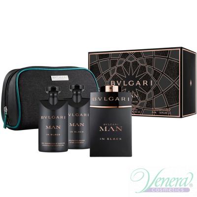 Bvlgari Man In Black Комплект (EDP 100ml + AS Balm 75ml + SG 75ml + Bag) за Мъже Мъжки Комплекти