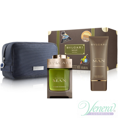 Bvlgari Man Wood Essence Set (EDP 100ml + AS Balm 100ml + Bag) за Мъже Мъжки Комплекти