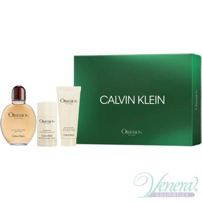 Calvin Klein Obsession For Men Комплект (EDT 125ml + Deo Stick 75ml + ASB 100ml) за Мъже Мъжки Комплекти