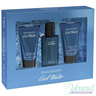 Davidoff Cool Water Set (EDT 40ml + AS Balm 50ml + SG 50ml) за Мъже Мъжки Комплекти