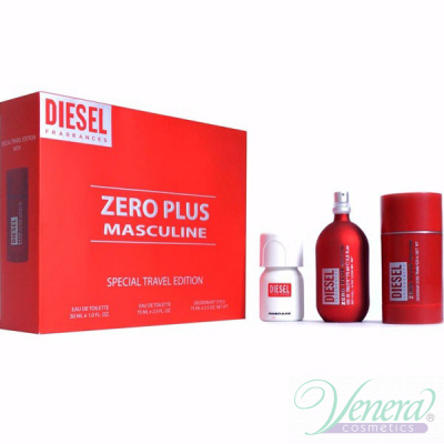 Diesel Zero Plus Комплект (EDT 75ml + Deo Stick 75ml + Plus Plus EDT 30ml) за Мъже