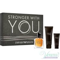 Emporio Armani Stronger With You Комплект (EDT 50ml + AS Balm 20ml + SG 75ml) за Мъже Мъжки Комплекти