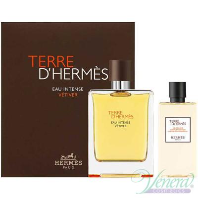 Hermes Terre D'Hermes Eau Intense Vetiver Комплект (EDP 100ml + SG 80ml) за Мъже Мъжки Комплекти