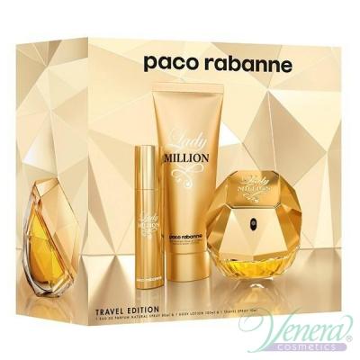 Paco Rabanne Lady Million Комплект (EDP 80ml + EDP 10ml + BL 100ml) за Жени