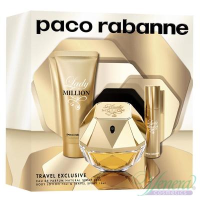 Paco Rabanne Lady Million Комплект (EDP 80ml + EDP 10ml + BL 75ml) за Жени Дамски Комплекти