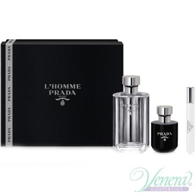Prada L'Homme Комплект (EDT 100ml + EDT 10ml + Shower Cream 100ml) за Мъже Мъжки Комплекти