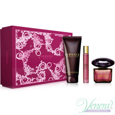 Versace Crystal Noir Set (EDT 90ml + EDT Roll On 10ml + SG 150ml) за Жени Дамски Комплекти