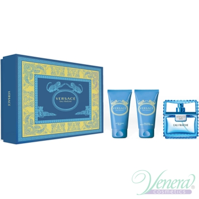 Versace Man Eau Fraiche Комплект (EDT 50ml + AS Balm 50ml + Shower Gel 50ml) за Мъже