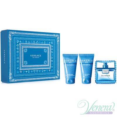 Versace Man Eau Fraiche Комплект (EDT 50ml + AS Balm 50ml + Shower Gel 50ml) за Мъже За Мъже