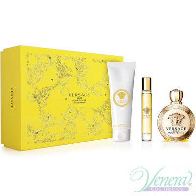 Versace Eros Pour Femme Комплект (EDP 100ml + EDP Roll On 10ml + BL 150ml) за Жени