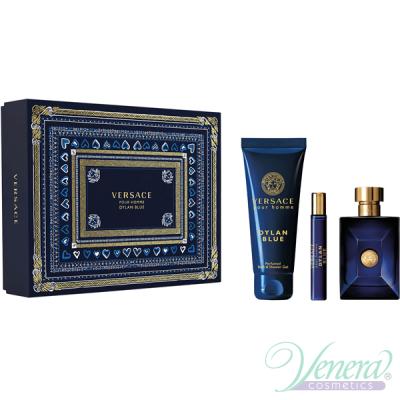 Versace Pour Homme Dylan Blue Комплект (EDT 100ml + EDT 10ml + SG 150ml) за Мъже Мъжки Комплекти