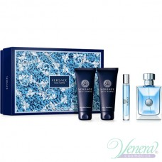 Versace Pour Homme Комплект (EDT 100ml + EDT 10ml + AS Balm 100ml + SG 100ml) за Мъже