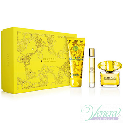 Versace Yellow Diamond Комплект (EDT 90ml + EDT Roll On 10ml + SG 150ml) за Жени Дамски Комплекти