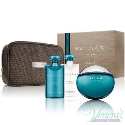 Bvlgari Aqva Pour Homme Комплект (EDT 100ml + ASB 75ml + SG 75ml + Bag) за Мъже Мъжки Комплекти