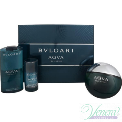 Bvlgari Aqva Pour Homme Комплект (EDT 150ml + Deo Stick 75ml + SG 200ml) за Мъже