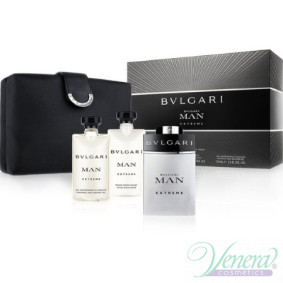 Bvlgari Man Extreme Комплект (EDT 100ml +AS Balm 75ml +SG 75ml +Bag) за Мъже Мъжки Комплекти