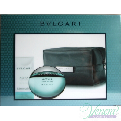 Bvlgari Aqva Pour Homme Marine Комплект (EDT 50ml + SG 75ml + Bag) за Мъже За Мъже
