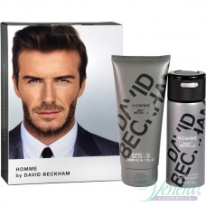 David Beckham Homme Комплект (Deo Spray 150ml + SG 200ml) за Мъже