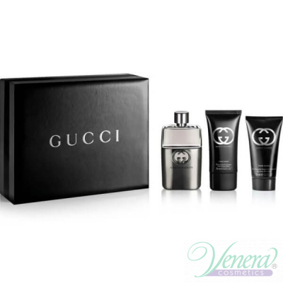 Gucci Guilty Pour Homme Комплект (EDT 90ml + After Shave Balm 50ml + SG 50ml) за Мъже