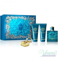 Versace Eros Set (EDT 100ml + AS Balm 100ml + SG 100ml + Kлючодържател) за Мъже