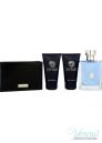 Versace Pour Homme Комплект (EDT 100ml + AS Balm 50ml + SG 50ml + Портфейл) за Мъже За Мъже