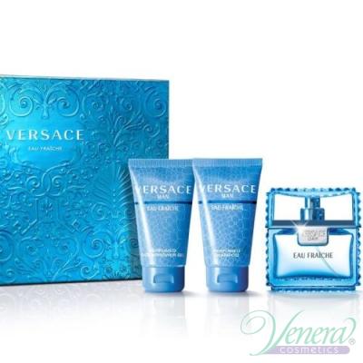 Versace Man Eau Fraiche Комплект (EDT 50ml + Shower Gel 50ml + Shampoo 50ml) за Мъже За Мъже